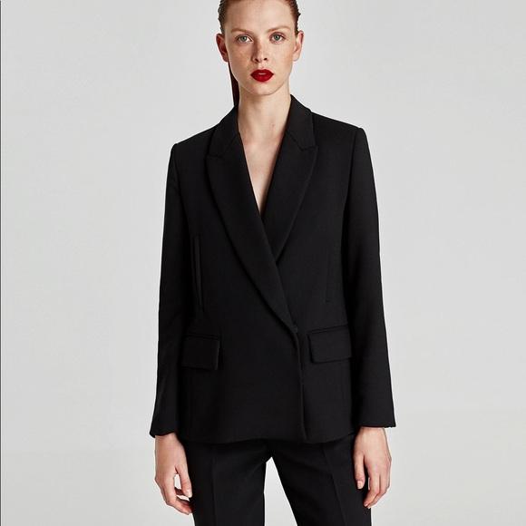 54a2f011 Zara Jackets & Coats | Nwt Black Double Breasted Boxy Crossed Blazer ...